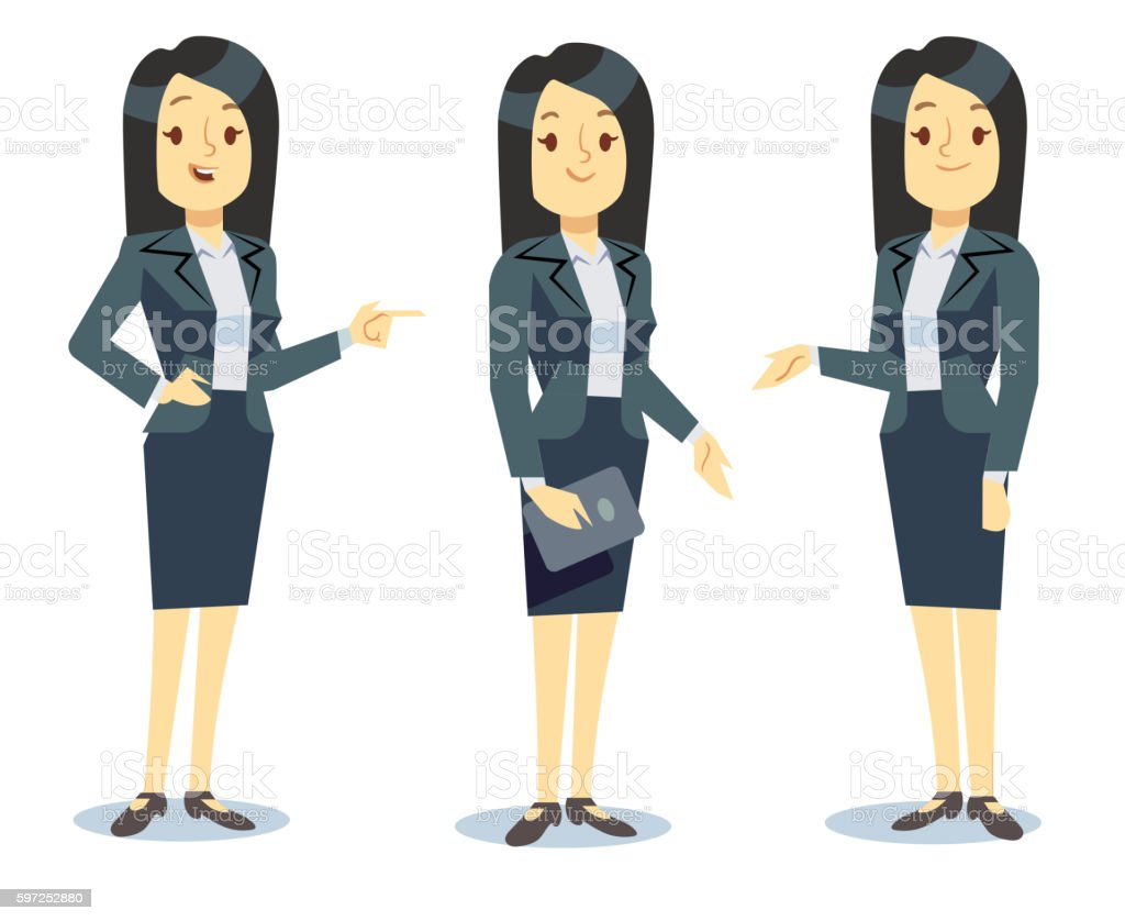 Funny businesswoman cartoon character in different poses for business presentation vector art illustration