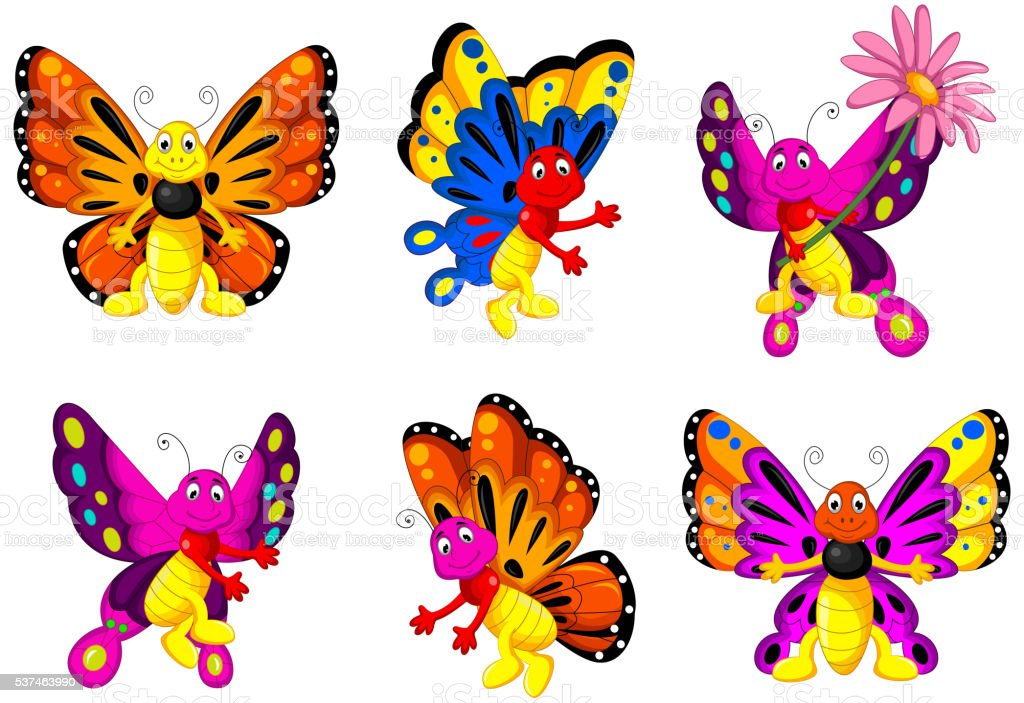 funny butterfly cartoon set