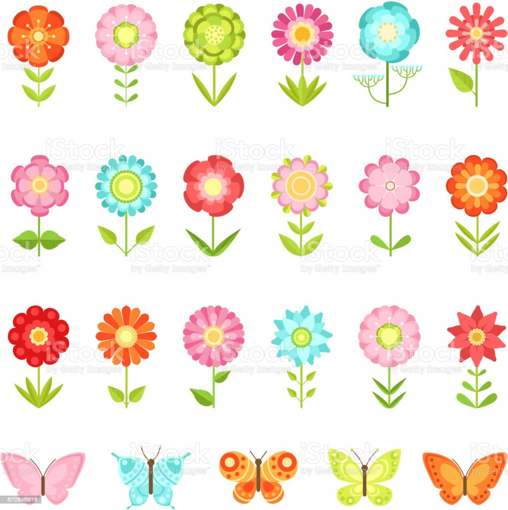 Funny butterfly on flowers in garden. Illustrations of natural flower in flat style isolate on white background vector art illustration