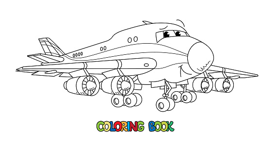 Funny cargo plane with eyes. Coloring book
