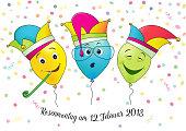 Karneval Hut Mit Ballon Ballon Mit Gesicht Stock Vektor Art Und Mehr