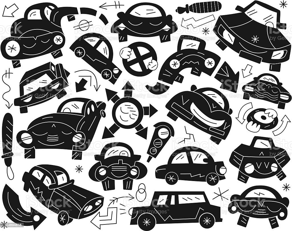 funny cars - doodles set royalty-free stock vector art