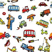 Funny Cars. kids seamless pattern texture.