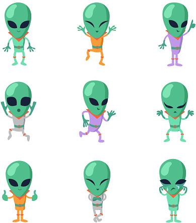 Funny cartoon aliens vector green humanoid characters