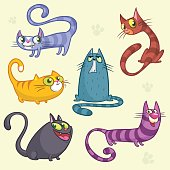 Funny cartoon and vector cats characters outlined. Vector set of colorful cats. Cat breeds cute pet animal collection.  Isolated objects