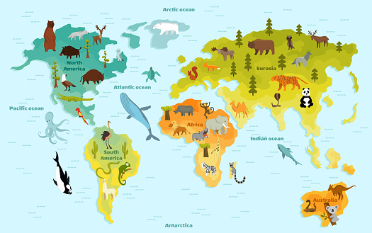 Funny cartoon animal world map for children with the continents, oceans and lot of funny animals. Vector illustration for preschool education in kids design. Cartoon animals for kids
