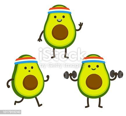istock Funny cartoon avocado character 1017915240