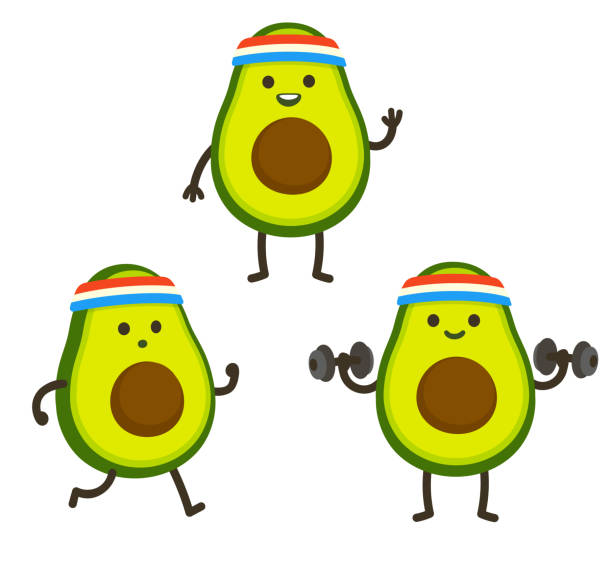 Funny cartoon avocado character Funny heath and fitness illustration set. Cartoon avocado with sweatband jogging and lifting dumbbells. Cute sporty character drawing, cardio and weightlifting. avocado stock illustrations