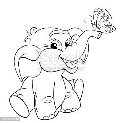 Ilustración de Bebé Elefante De Dibujos Animados Divertidos Con ...