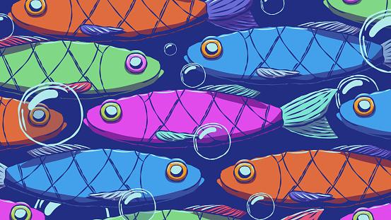 Funny cartoon background illustration - School of fish.