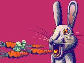 istock Funny cartoon banner illustration - Rabbit or hare eating carrot. 1317795704