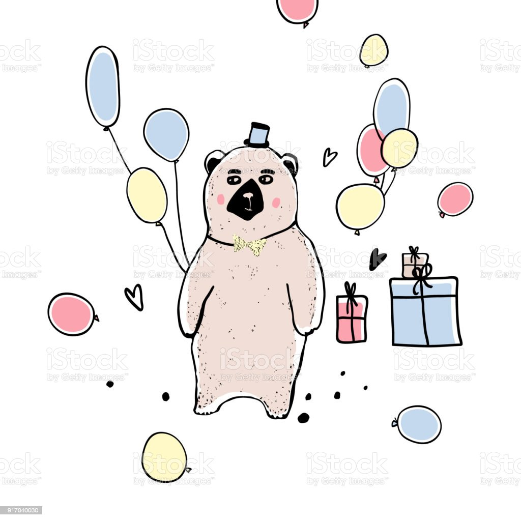 Funny Cartoon Bear Gifts And Balloons Greeting Card For Birthday Style Of Childrens