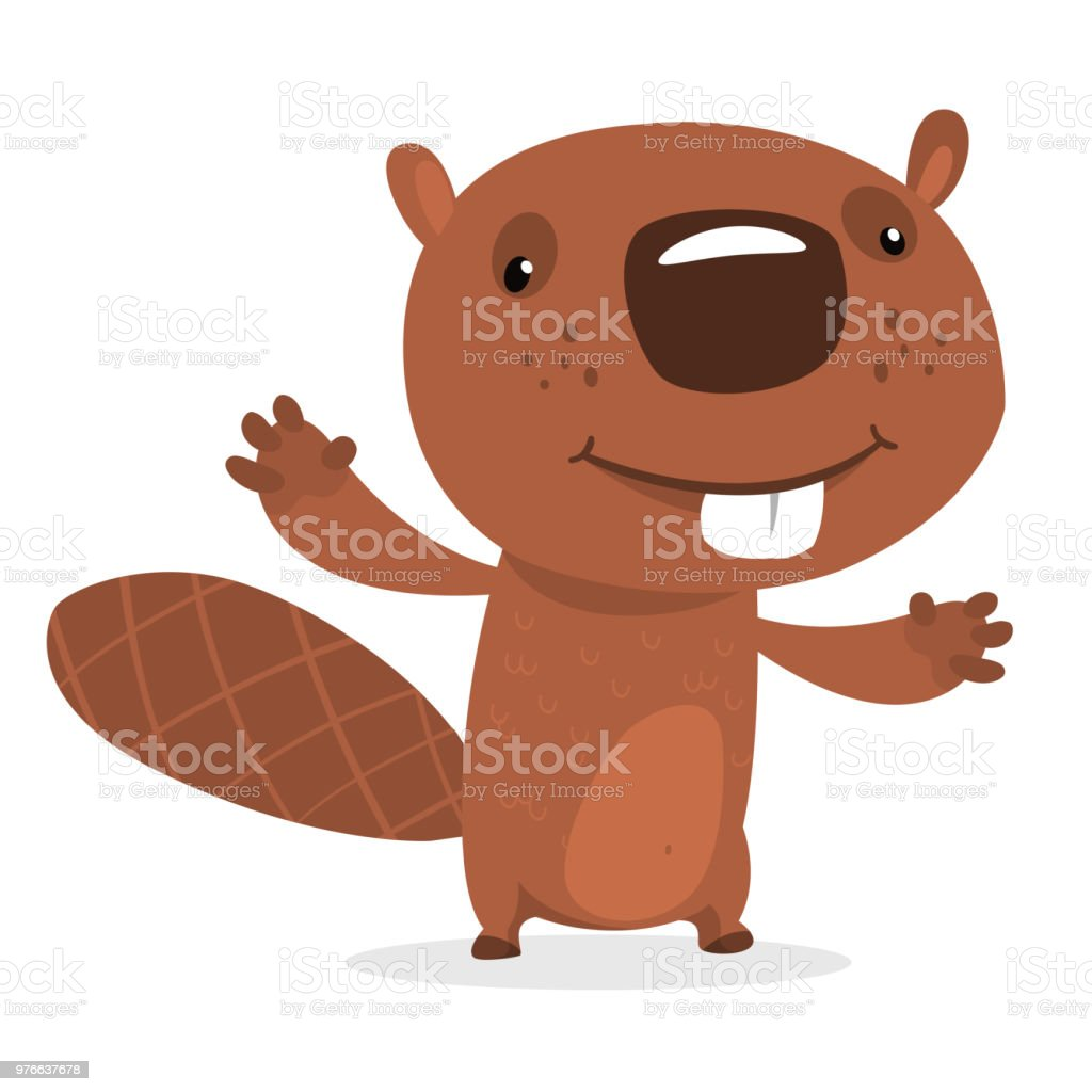 Funny Cartoon Beaver Waving With His Hands Fluffy Beaver Character ...
