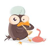 funny cartoon bird is a snake charmer
