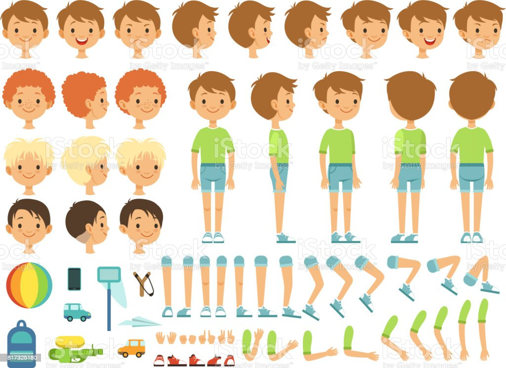 Funny cartoon boy creation mascot kit with children toys and different body parts vector art illustration