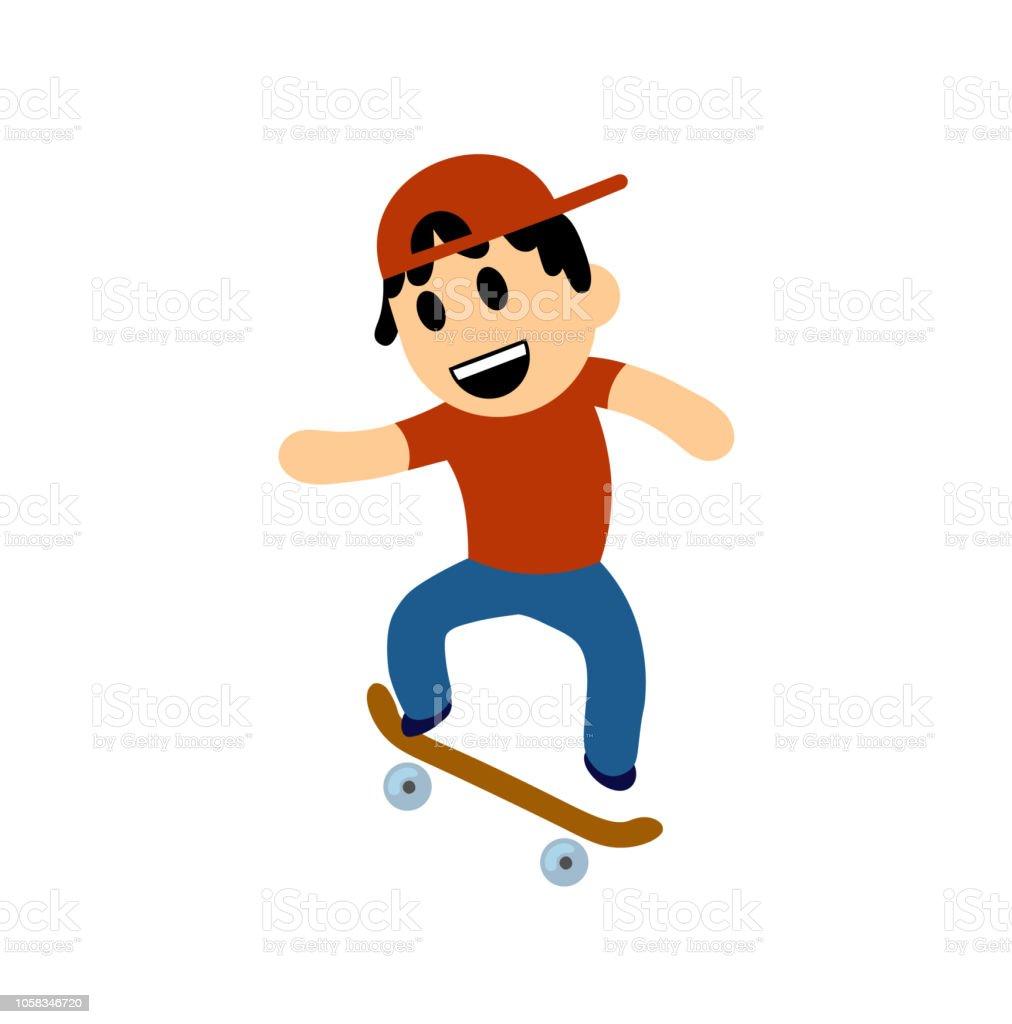 Funny Cartoon Images Of Boys funny cartoon boy performing trick on skateboard flat vector