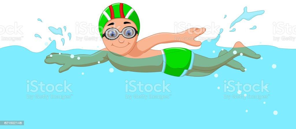 funny cartoon boy swimmer in the swimming pool Lizenzfreies funny cartoon boy swimmer in the swimming pool stock vektor art und mehr bilder von charakterkopf