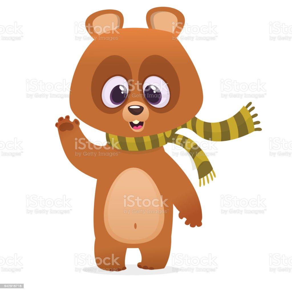 ilustração de desenho animado urso marrom em um cachecol sorrindo e