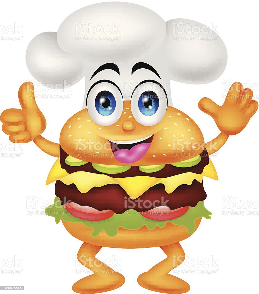 funny cartoon burger chef character royalty-free funny cartoon burger chef character stock vector art & more images of art