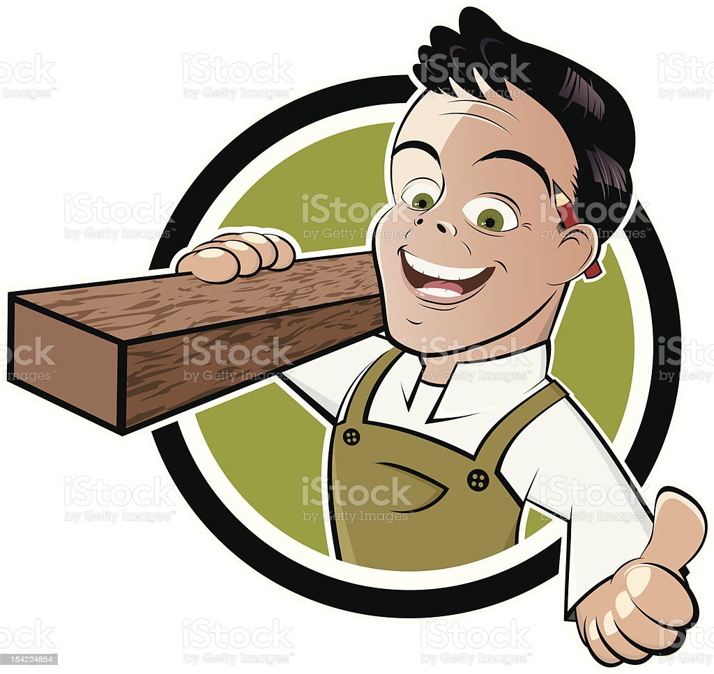 funny cartoon carpenter vector art illustration