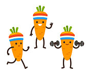 Funny heath and fitness illustration set. Cartoon carrot with sweatband jogging and lifting dumbbells. Cute sporty character drawing.