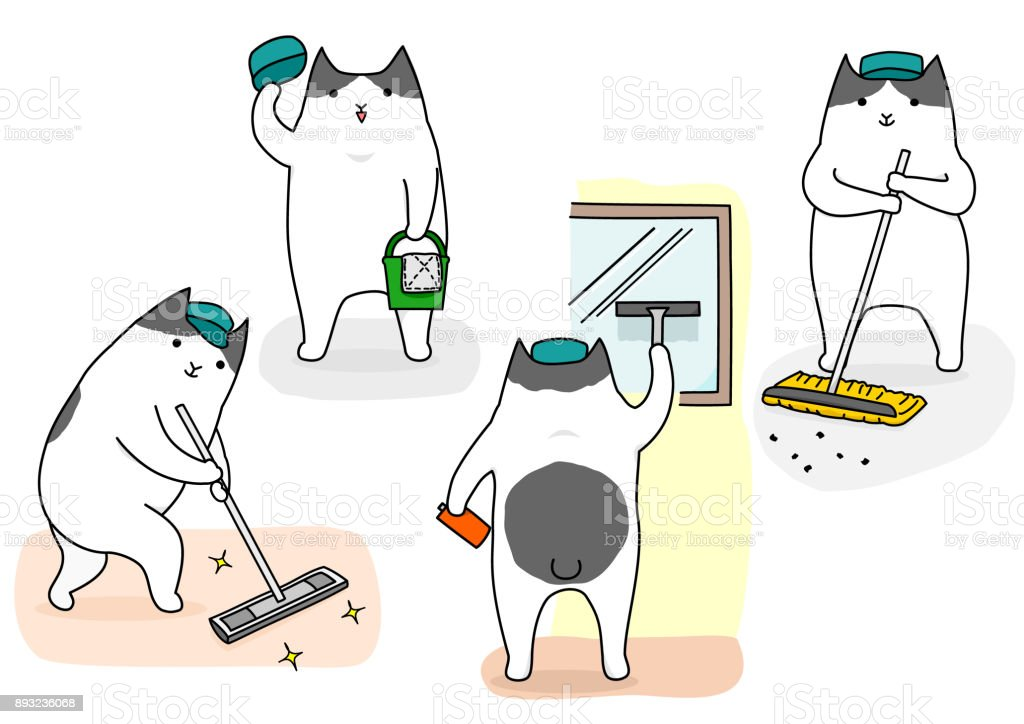 Funny Cartoon Cat Cleaning Set Stock Vector Art More Images Of