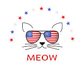 Pussy and sunglasses with American flag and stars on white. Cute American holiday kitten isolated