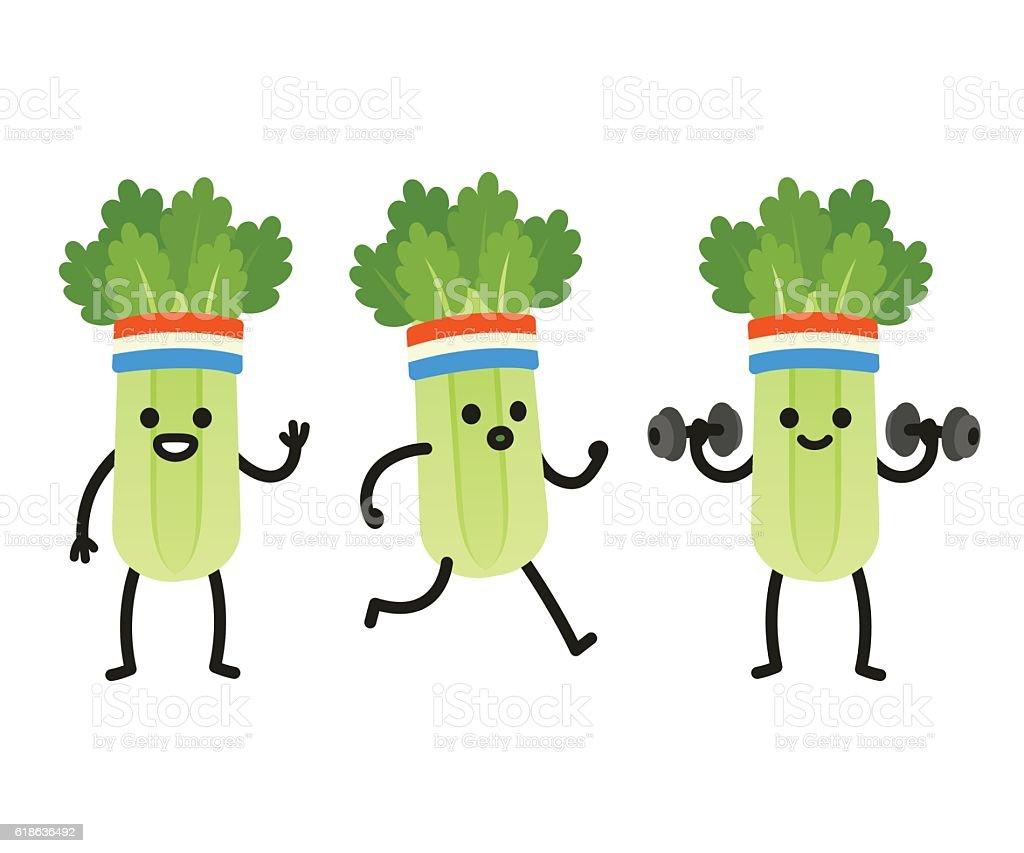 Funny cartoon celery vector art illustration