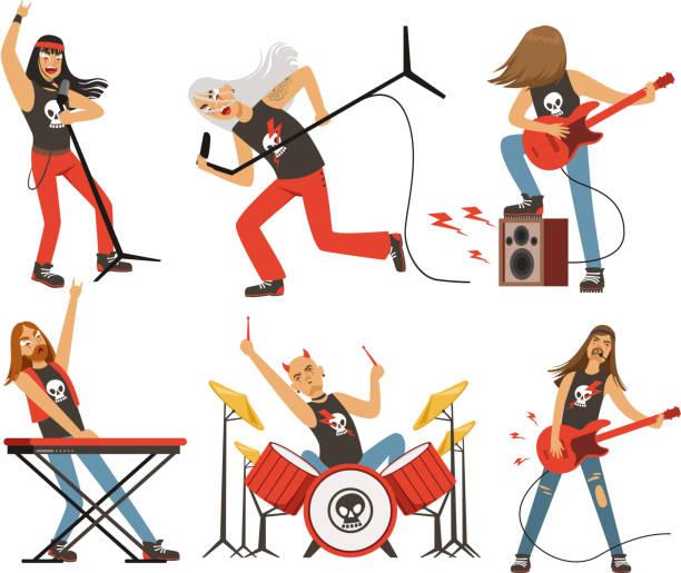 面白い漫画のキャラクター ロック ・ バンド。有名なポップ グループのミュージシャン。ベクター マスコット セット - ステージのイラスト点のイラスト素材/クリップアート素材/マンガ素材/アイコン素材