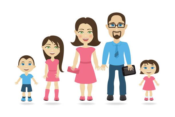 ilustraciones, imágenes clip art, dibujos animados e iconos de stock de divertidos personajes de dibujos animados - familia tradicional con tres hijos, cinco personas - ojos azules