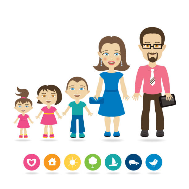 Best Small House Plans: Family With Three Children Illustrations, Royalty-Free