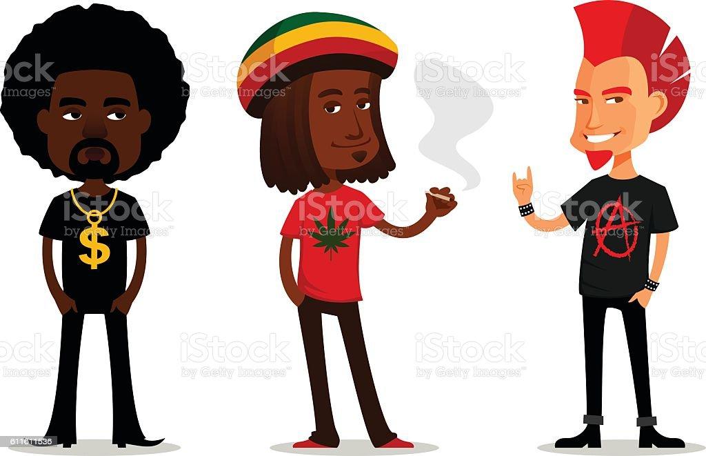 funny cartoon characters vector art illustration