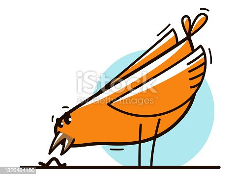 istock Funny cartoon chicken hunting and eating worm flat vector illustration isolated on white. 1326464180