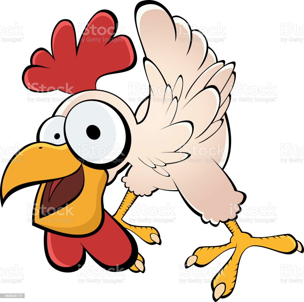 funny cartoon chicken vector art illustration