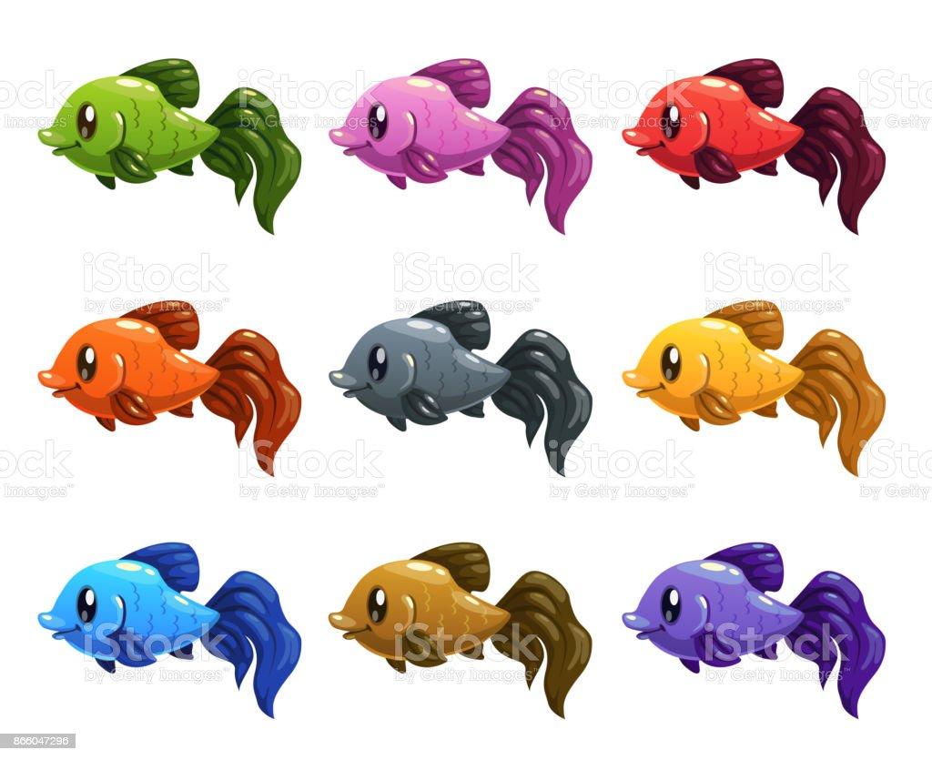 Vetores De Engracado Dos Desenhos Animados Conjunto De Peixes