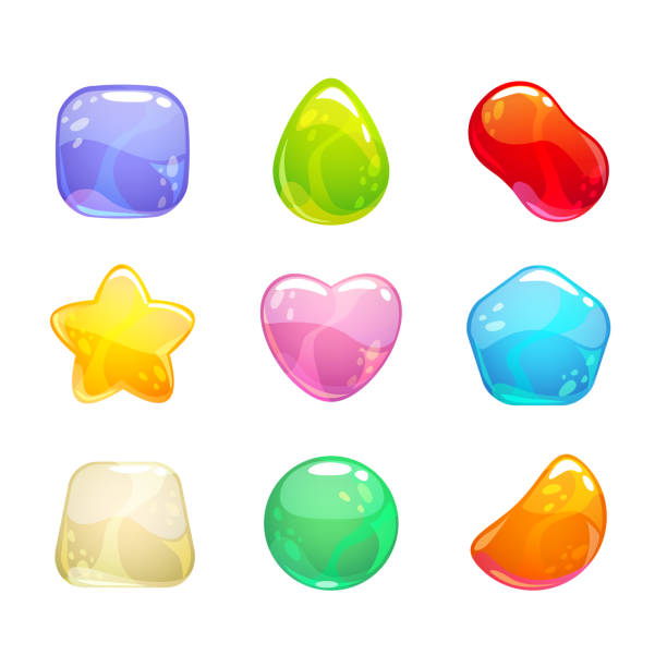 Funny cartoon colorful jelly candies set Funny cartoon colorful jelly candies set. Vector sweet icons for game or web design. Isolated on white background. jello stock illustrations