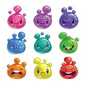 Funny cartoon colorful little bubble characters