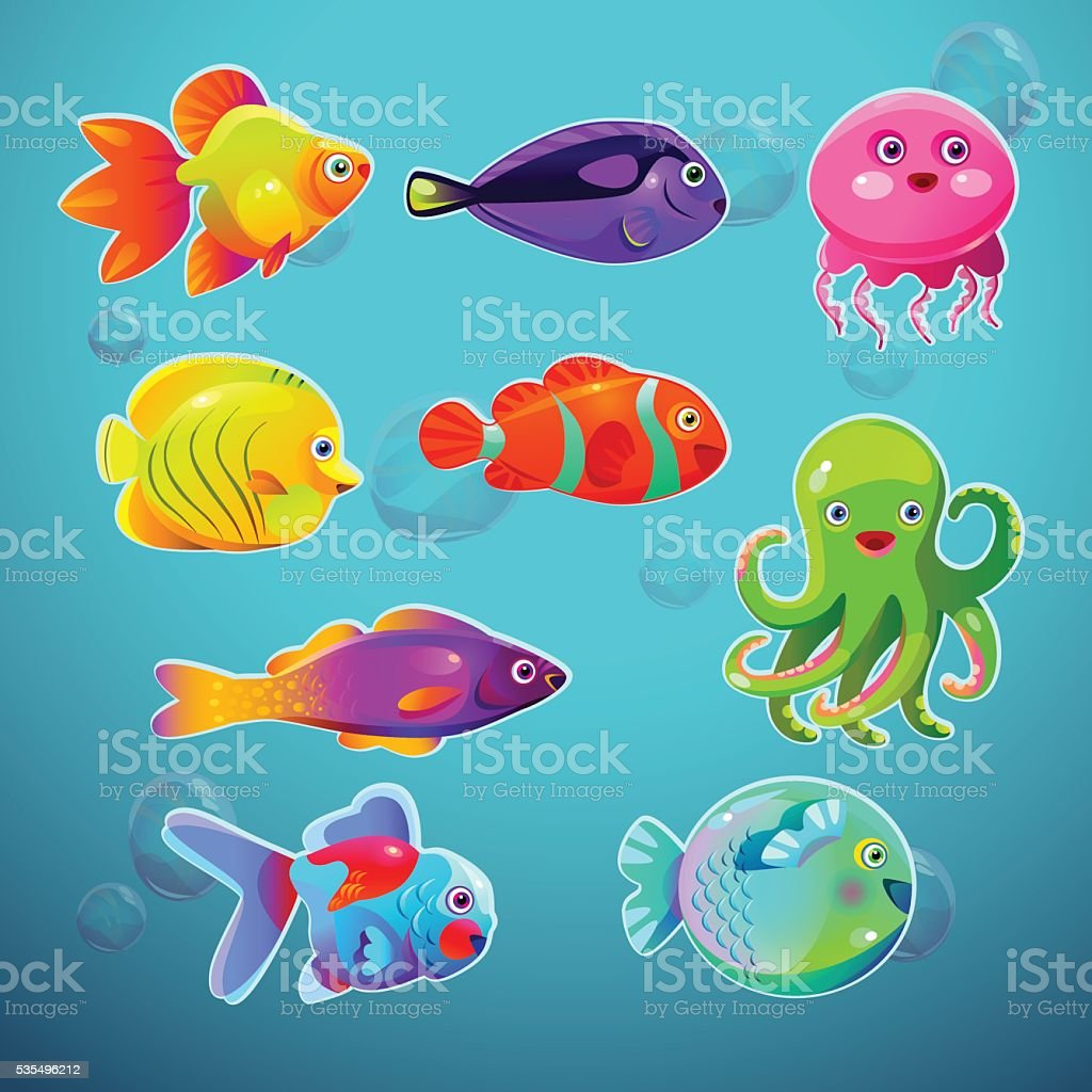 Funny cartoon colorful tropic fishes set