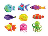 Funny cartoon colorful tropic fishes