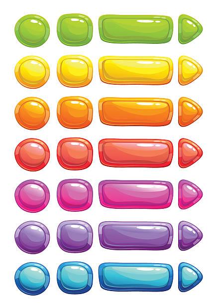 stockillustraties, clipart, cartoons en iconen met funny cartoon colorful vector jelly buttons - wegkijken