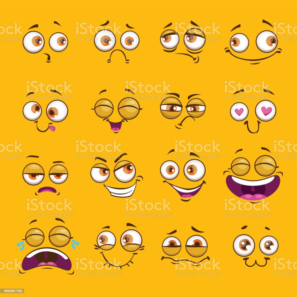 Funny cartoon comic faces on yellow background vector art illustration