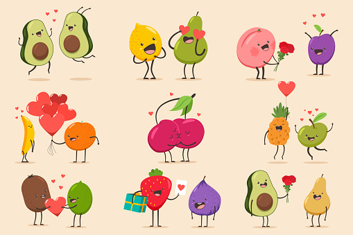 Funny cartoon couples character of avocado, banana, pineapple, fig, pear, cherry, apple, lime, lemon, pear, peach. Valentine day vector concept illustration with cute fruits isolated on background.