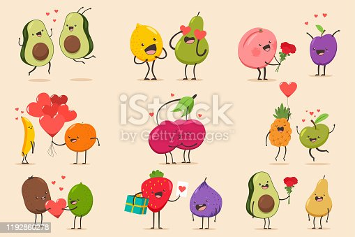 Cute couple fruit character set. Valentine day vector cartoon illustration.