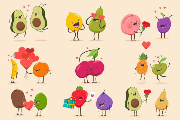 Funny cartoon couples character of avocado, banana, pineapple, fig, pear, cherry, apple, lime, lemon, pear, peach. Valentine day vector concept illustration with cute fruits isolated on background. Cute couple fruit character set. Valentine day vector cartoon illustration. avocado clipart stock illustrations