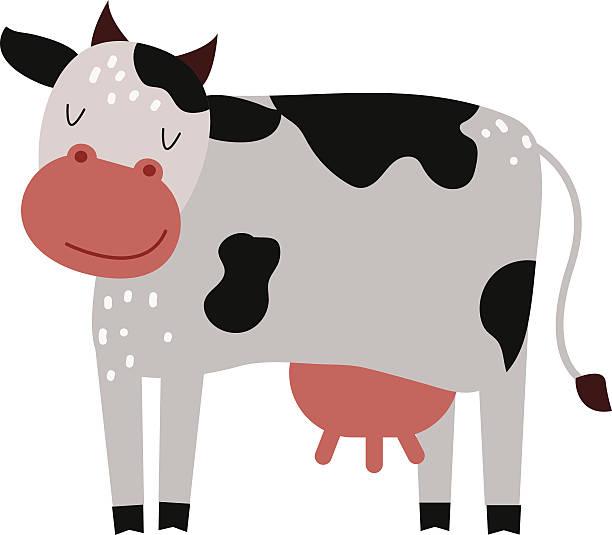 lustiger comic-cow bauernhof säugetier tier vektor - lustige kuh bilder stock-grafiken, -clipart, -cartoons und -symbole