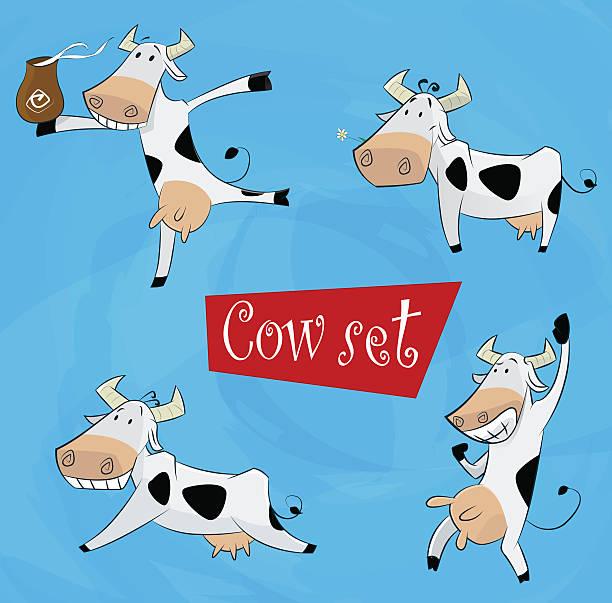 lustiger comic-kuh in verschiedenen posen - lustige kuh bilder stock-grafiken, -clipart, -cartoons und -symbole