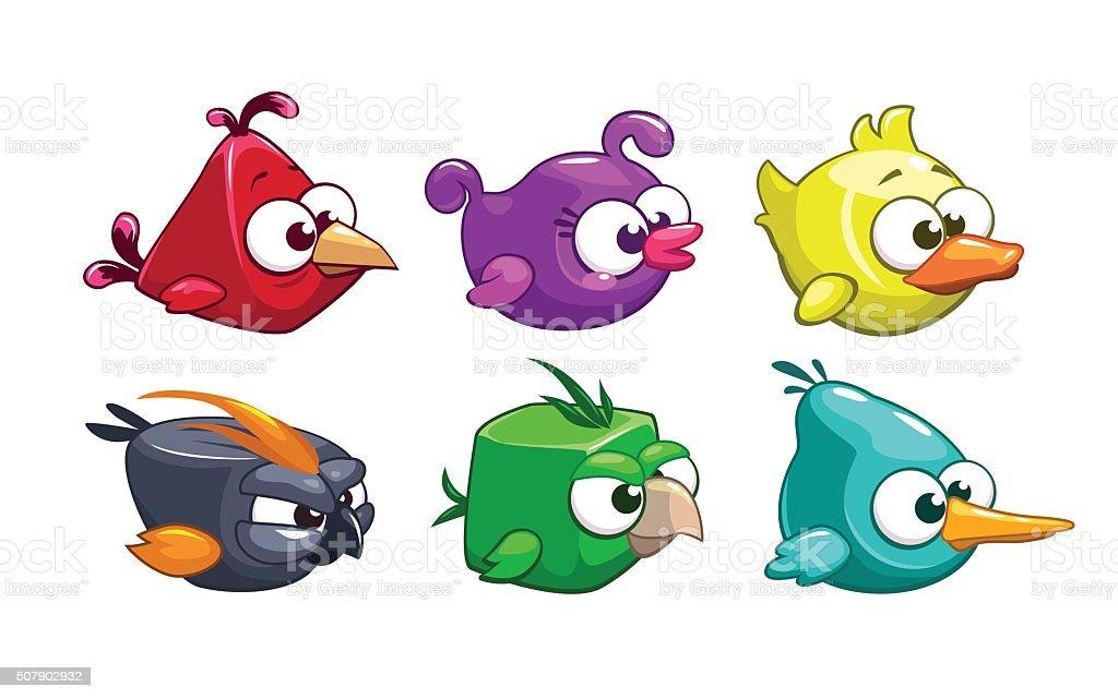 Funny cartoon crazy birds set