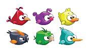 Funny cartoon crazy birds set