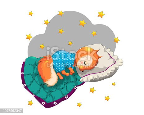 """istock Funny cartoon cute Sleeping squirrel with a pillow and a blanket on a """"nstarry background. EPS 10.""""nHand-drawn children's illustrations 1297592347"""