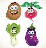 Funny cartoon cute vegetables - lettuce, radishes, eggplant...